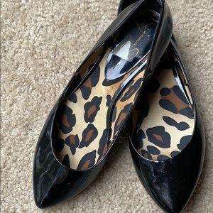 Jessica Simpson black patent pointed toe flats